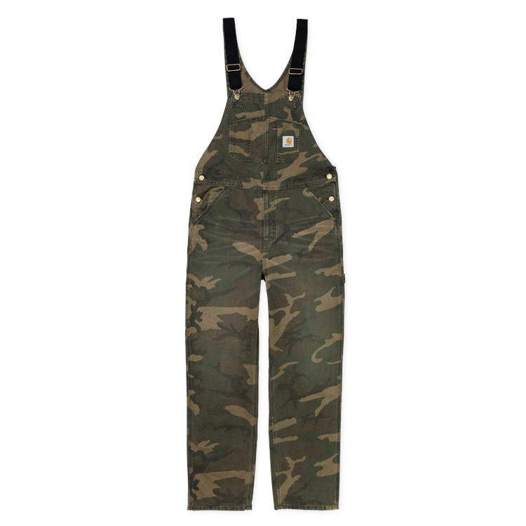 Bib Overall - Camo Laurel aged canvas
