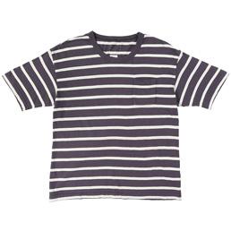 VISVIM Jumbo S/S Border T-Shirt Navy