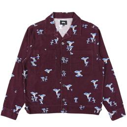 Stussy Mushroom Cord LS Shirt - Burgundy