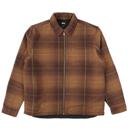 Stussy Zip Up Plaid LS Shirt - Brown