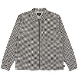 Stussy Mini Check Full Zip LS Shirt - Navy