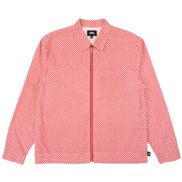 Stussy Mini Check Full Zip LS Shirt - Red
