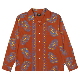 Stussy Big Paisley LS Shirt - Brown