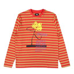 Stussy Flower Stripe LS Crew - Red