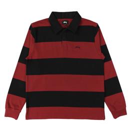 Stussy Ralphie Stripe LS Rugby - Black