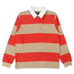 Stussy Ralphie Stripe LS Rugby - Khaki