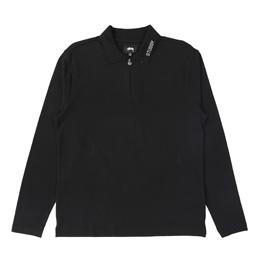 Stussy Lion LS Zip Polo - Black