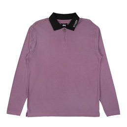 Stussy Lion LS Polo - Purple