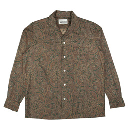 Wacko Maria Paisley Open Collar Shirt Green
