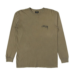 Stussy Modern Age Pig. Dyed LS Tee - Army