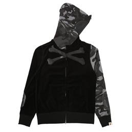 BAPE x MMJ Velvet Full Zip Hoodie Black