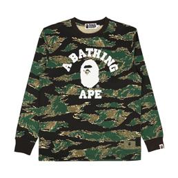 BAPE Tiger Camo College L/S T-Shirt Green