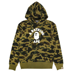 BAPE 1st Camo College Pullover Hoodie Green
