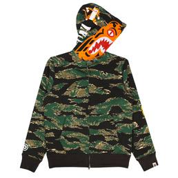 BAPE Tiger Camo Full Zip Hoodie Green