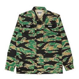 BAPE Tiger Camo Military Shirt Green