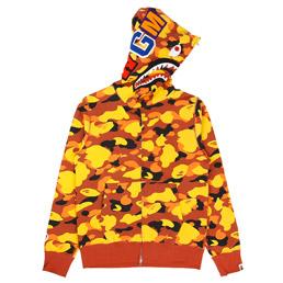 BAPE 1st Camo Shark Full Zip Hoodie Orange