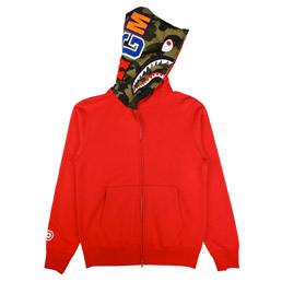 BAPE Shark Full Zip Hoodie - Red