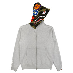 BAPE Shark Full Zip Hoodie - Grey