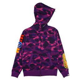 BAPE Color Camo Embroid Shark Full Zip Hood Purple