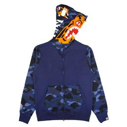BAPE Color Camo Tiger Full Zip Hoodie Navy