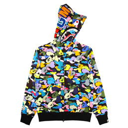 BAPE DMulti Camo Shark Full Zip Hoodie - Black