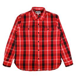 BAPE Shark Flannel Check Shirt Red