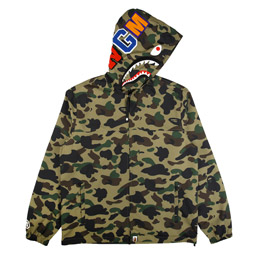 BAPE 1st Camo Shark Hoodie Jacket - Green