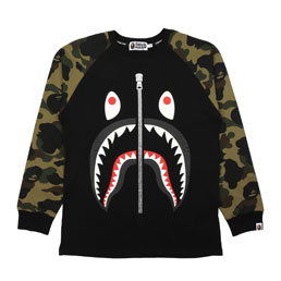 BAPE 1st Camo Shark L/S T-Shirt Green