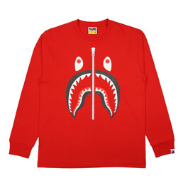 BAPE Shark L/S T-Shirt Red