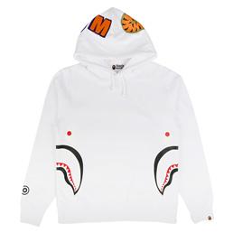 BAPE Side Zip Shark Pullover Hood White