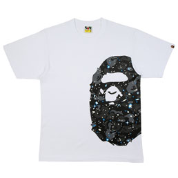 BAPE Space Camo Side Ape Head T-Shirt White