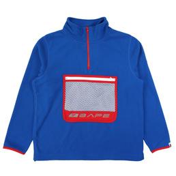 BAPE Half Zip Wide Fleece Top Blue