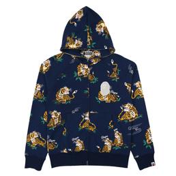 BAPE Tiger Pattern Full Zip Hoodie Navy