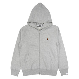 BAPE Silicon One Point Full Zip Hoodie Gry