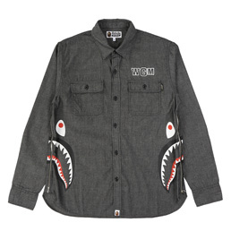 BAPE Side Zip Shark Shirt Black