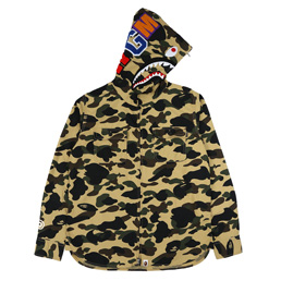 19c130ca761 BAPE 1st Camo Shark Hoodie Shirt Yel
