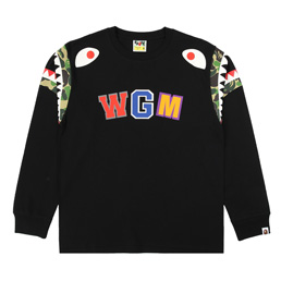 BAPE ABC Camo Shark Shoulder L/S Tee  - Bkxgr
