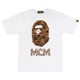 BAPE MCM X Bape Camo Ape Head Tee - White