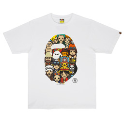 BAPE Onepiece Characters Ape Head T-Shirt White