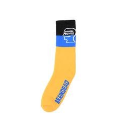 Braindead Striped Logo Sock - Yellow