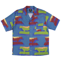 Braindead Cow Print SS Button Down - Multi