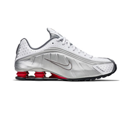 NikeLab Shox R4 - White/Metallic Silver-Comet Red