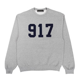 Call Me 917 Varsity Applique Sweatshirt Grey