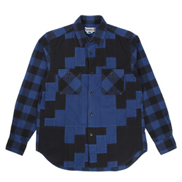 Ganryu Buffalo Check Flannel Shirt - Navy
