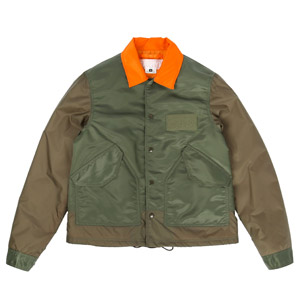 Ganryu Taffeta Twill Coach Jacket - Army Green/Org
