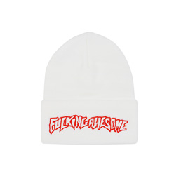 FA Outline Red Beanie White