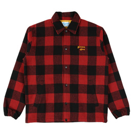 Gimme 5 Block Check Coach Jacket - Red/Black Check