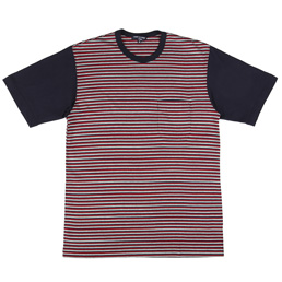 CDG Homme Small Stripe Pocket T-Shirt Gry/Navy/Red