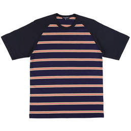 CDG Homme Stripe T-Shirt Navy/Beige/Red