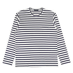 CDG Homme Stripe Pocket T-Shirt White/Navy